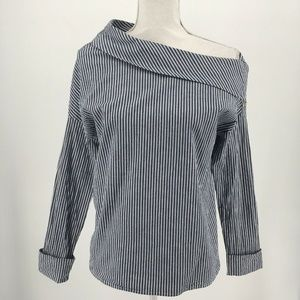 Michael Stars Womens Top Long Sleeve Stripe Blouse